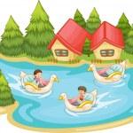 Kids in the lake — Stock Vector #10275414