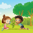Kids in the park — Imagen vectorial