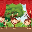 Monkeys on stage — Stock Vector