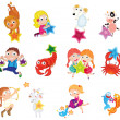 Stock Vector: Animals and children