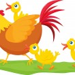 Royalty-Free Stock Vector Image: Rooster and ducklings