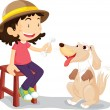 Girl with her pet dog - Stock Vector
