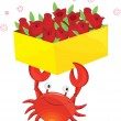 A crab with flowers — Stock Vector