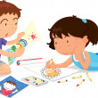 Boy and girl playing — Stock Vector #10278975
