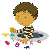 Boy with letters — Stock Vector