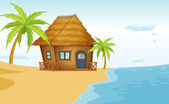 Bungalow playa — Vector de stock
