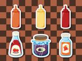 Sticker series breakfast spreads — Stock Vector