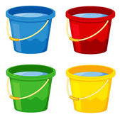Buckets in four colours on white — Stock Vector