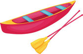 Red and yellow canoe — Stock Vector