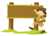 Boy scout and sign — Stock Vector