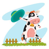 An illustration of a cow waving a hat — Stock Vector
