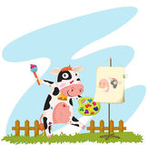 A cow painting — Stock Vector