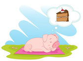 An illustration of a pig day dreaming of cake — Stock Vector