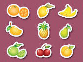 Sticker series of fruits — Stock Vector