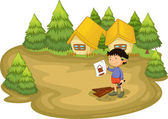 плотник в лесу — Cтоковый вектор