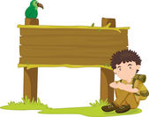 Boy and sign — Stock Vector