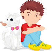 A boy with his pet — Stock Vector