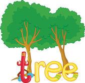 T voor tree — Stockvector