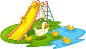 Ducks in a park — Stock Vector