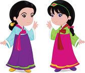 Korean girls — Stock Vector