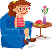 Girl sitting — Stock Vector