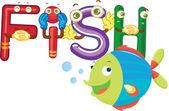рыба алфавит — Cтоковый вектор
