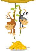 Twee aapjes — Stockvector