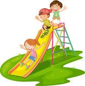 Niños en un parque — Vector de stock