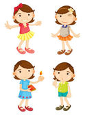 4 girls — Stock Vector