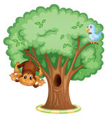 Animals in a tree — Stock Vector