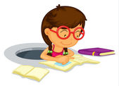 Girl doing schoolwork — Stockvector