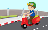 Boy on a scooter — Stock Vector