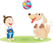 Child and dog playing — Stock Vector