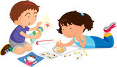 Boy and girl playing — Stock Vector