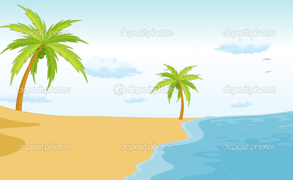 Illustration of a beach paradise  Stock Vector #10273068