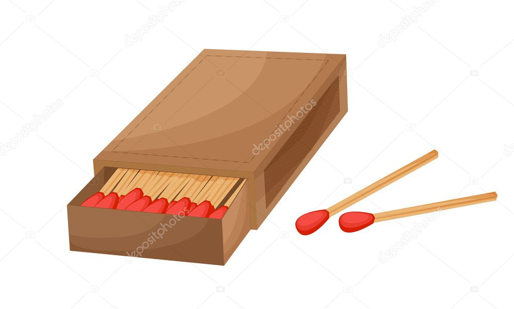 Box of matches on a white background  Stock Vector #10273302