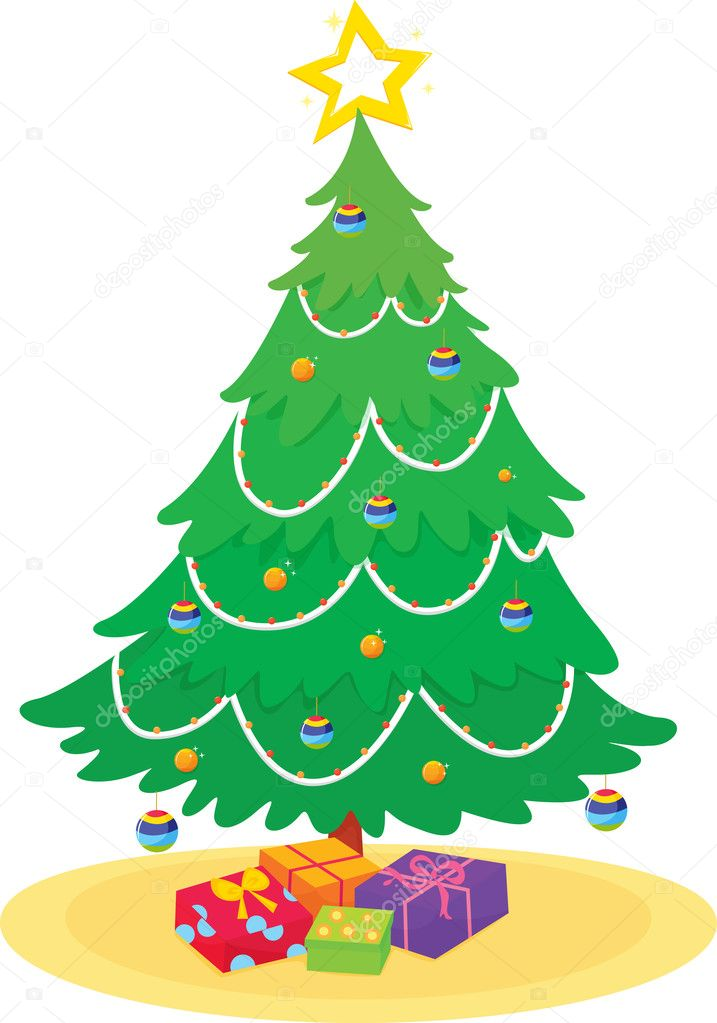 Illustration of a christmas tree with presents — Vektorgrafik #10273403
