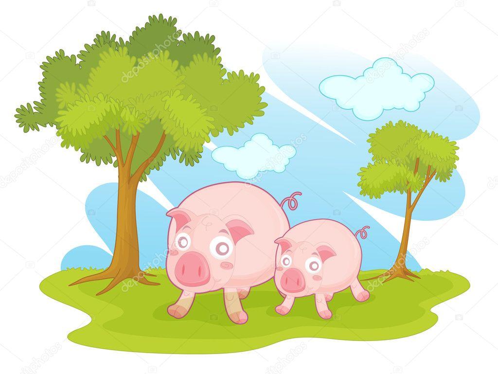 举例说明在一个公园中的两个猪