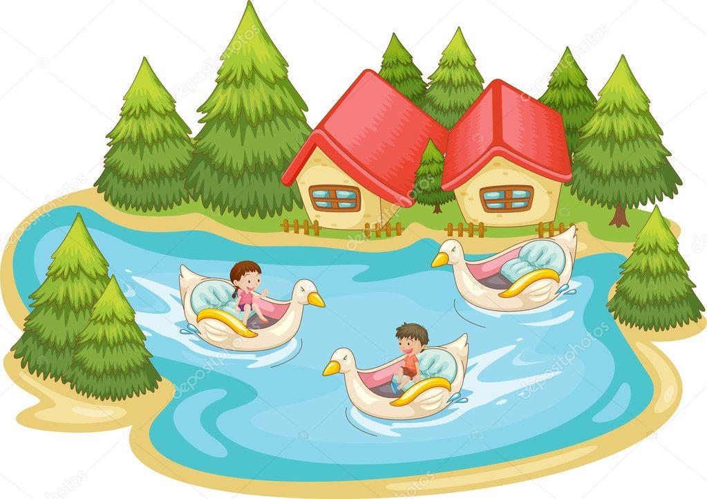 孩子们在湖中嬉戏玩耍 — 矢量图片作者 interactimages