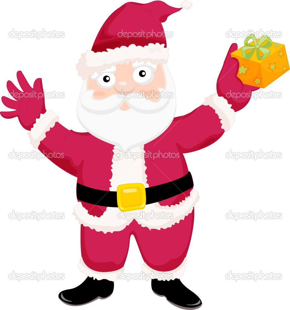 Illustration of father Christmas with a present  Stock Vector #10275575