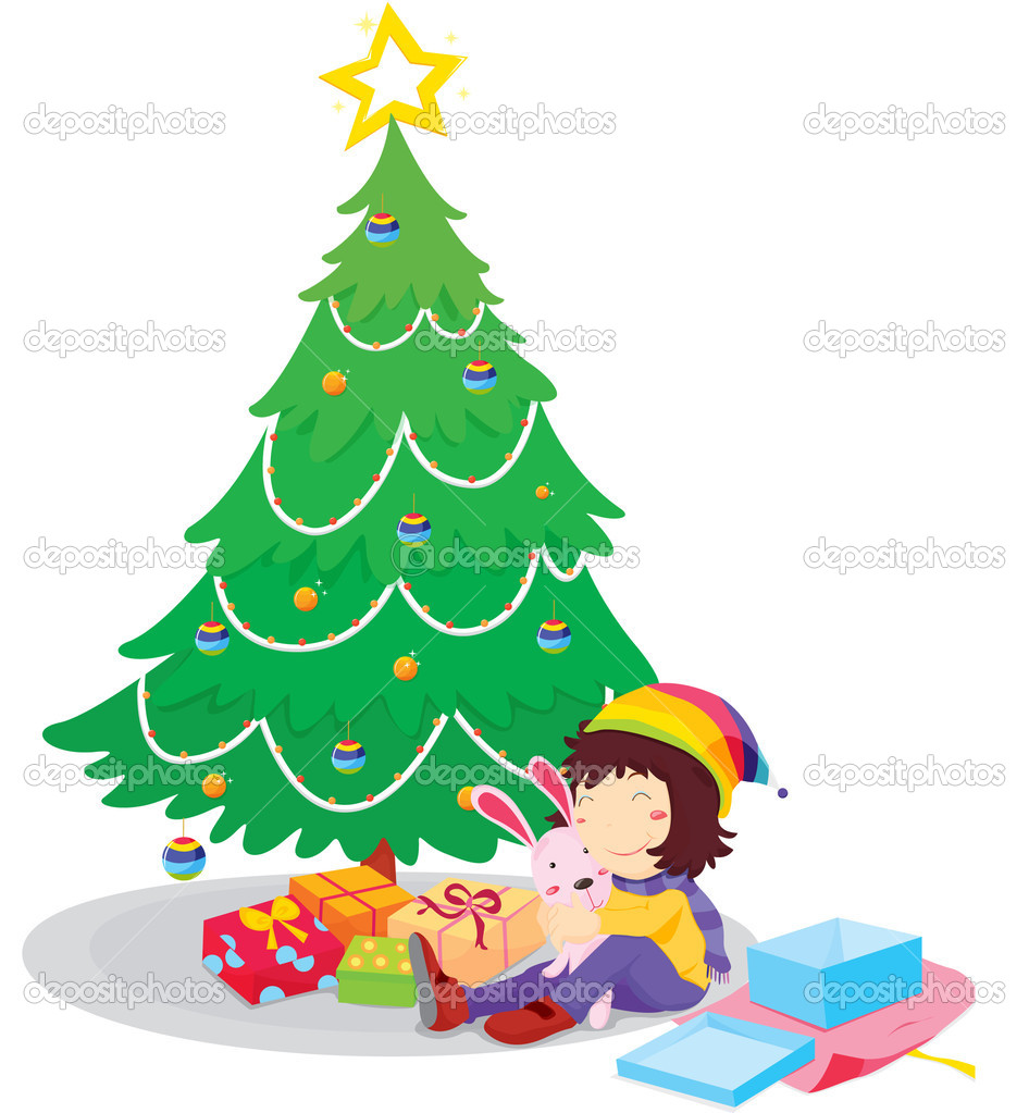 Illustration of opening Christmas presents — Imagens vectoriais em stock #10276484