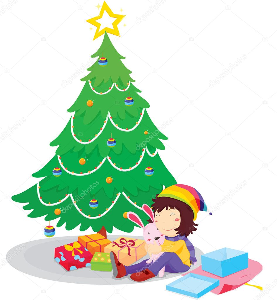 Illustration of opening Christmas presents — Stok Vektör #10276484
