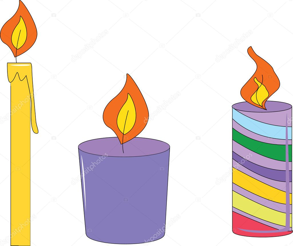 Candle illustrations isolated on white background — Grafika wektorowa #10276807