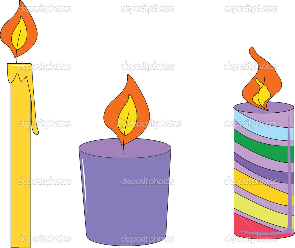 Candle illustrations isolated on white background — ベクター素材ストック #10276807
