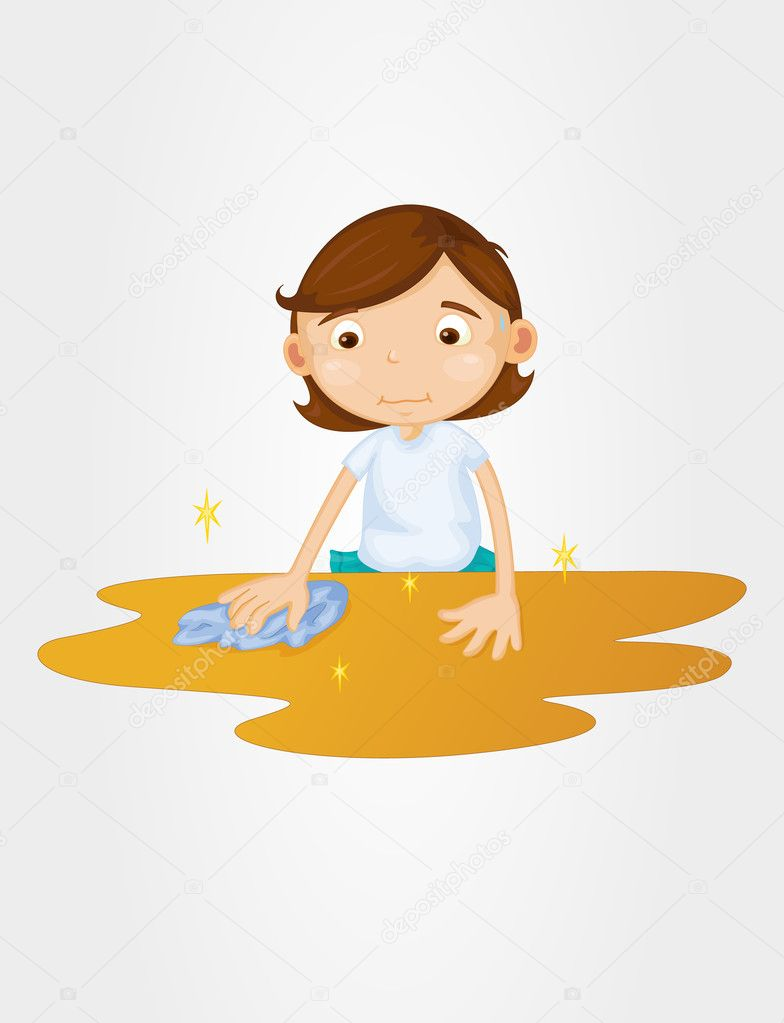 Girl cleaning table on a white  Table Cleaner Clip Art
