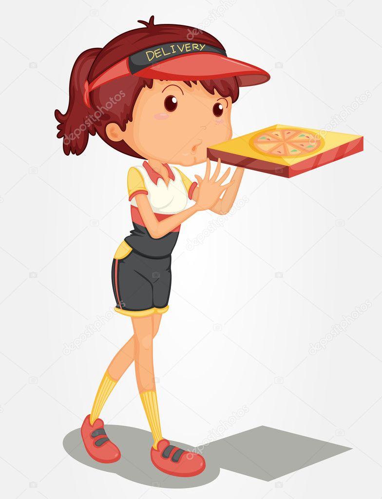 披萨的女孩 — 图库矢量图像08