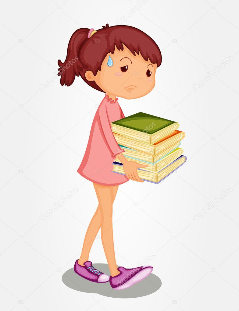 Isolated girl carrying heavy books — Stock Vector #10278380