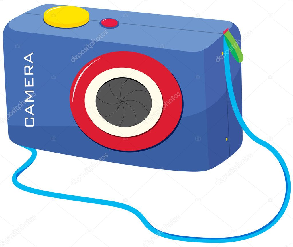 Illustratiion of blue snapshot camera — Stock Vector #10278470