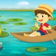 Boy in boat — Stock Vector