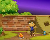 Boy camper — Stock Vector